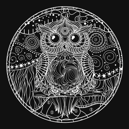 Mandala with owl. Design Zentangle. Hand drawn abstract patterns on isolation background. Design for spiritual relaxation for adults. Black and white illustration. Zen art. Decorative style Illustration