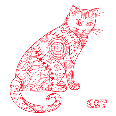 Cat. Design Zentangle. Hand drawn cat with abstract patterns on isolation background. Design for spiritual relaxation for adults. Zen art. Decorative style. Print for polygraphy, posters and textiles Illustration
