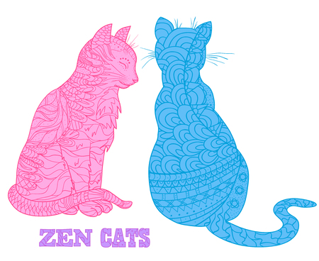 Zen cats. Design Zentangle. Hand drawn cat with abstract patterns on isolation background. Design for spiritual relaxation for adults. Outline for tattoo, printing on t-shirts, posters and other items