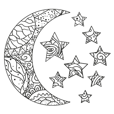Moon and star with abstract patterns on isolation background. Design for spiritual relaxation for adults. Line art creation. Black and white illustration for anti stress colouring page. Print t-shirts