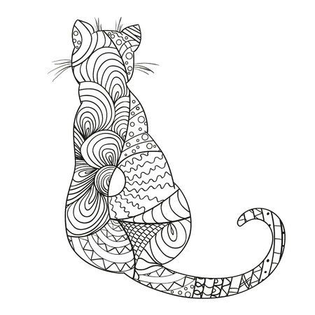 Cat Hand drawn cat with abstract patterns on isolation background. Design for spiritual relaxation for adults. Zen art. Decorative style. Print for polygraphy, posters and textiles Ilustração