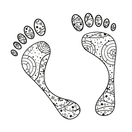 Foots. Hand drawn element with abstract patterns on isolation background. Design for spiritual relaxation for adults. Line art creation. Black and white illustration for coloring. Print for t-shirts