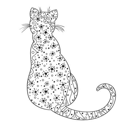 分離の背景に抽象的なパターンを持つ猫の手描きの動物。大人のための精神的なリラクゼーションのためのデザイン。装飾的なスタイル。多作、ポ
