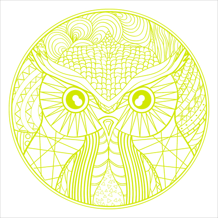 Mandala. . Hand drawn circle with abstract patterns on isolation . Design for spiritual relaxation for adults. Outline for tattoo, printing on t-shirts, posters and other Illustration