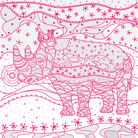 Rhinoceros. Abstract eastern pattern. Zen art. Hand drawn texture with abstract patterns on isolation background. Design for spiritual relaxation for adults. Print for polygraphy. Decorative style