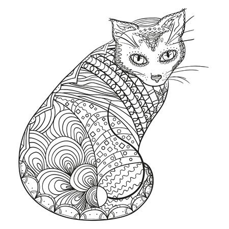 Mandalas, Gatos Y Modelo De La Fantasía De Las Flores Ilustraciones ...