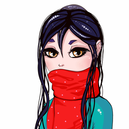 Brunette girl with blue hair and red scarf on isolated background. Print for polygraphy, posters and textiles Çizim
