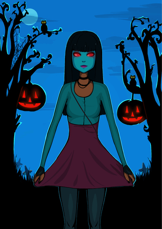 Halloween background for design. Pretty girl with black hair in mask. Cute character. Illustration. Monster girl with black hair. Happy halloween!