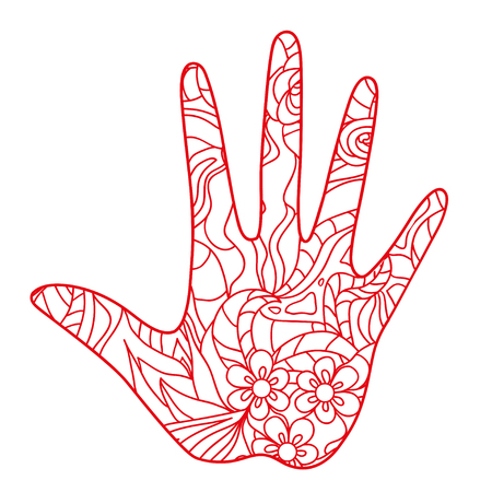 Hand. Hand drawn element with abstract patterns on isolation background. Design for spiritual relaxation for adults. Line art creation. Black and white illustration for coloring. Print for t-shirts