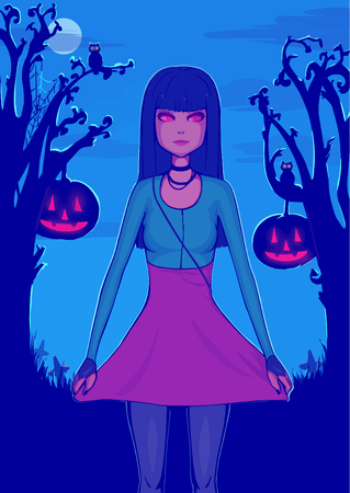 Halloween background for design. Pretty girl with black hair in mask. Cute character. Illustration. Print for polygraphy, posters and textiles