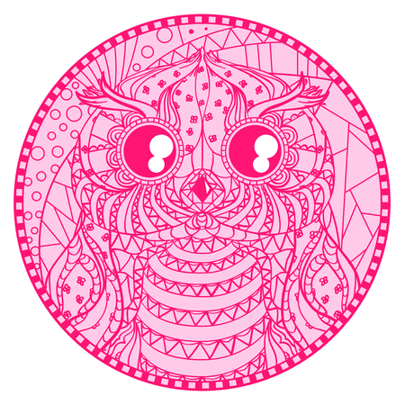 Mandala. Zentangle owl. Hand drawn circle zendala with abstract patterns on isolation background. Design for spiritual relaxation for adults. Line creation. Outline for tattoo, printing on t-shirts Illustration