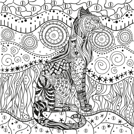 Cat. Mandala. Eastern pattern. Hand drawn circle zendala with abstract patterns on isolation background. Design for spiritual relaxation for adults. Black and white illustration for coloring. Zen art 向量圖像
