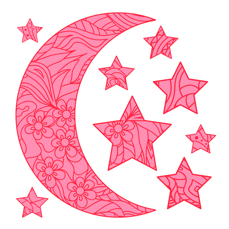 Half moon and stars with abstract patterns on isolation background. Design for spiritual relaxation for adults. Line art creation. Outline for tattoo, printing on t-shirts, posters Иллюстрация