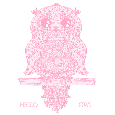 Owl. Design Zentangle. Detailed hand drawn vintage owl with abstract patterns on isolation background. Design for spiritual relaxation for adults. Outline for tattoo, printing on t-shirts, posters Иллюстрация