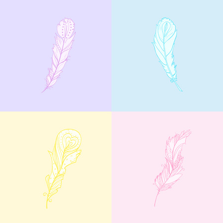 Seamless multicolored pattern. Hand drawn feather with abstract patterns. Abstract geometric wallpaper with feathers. Pastel colors Illustration