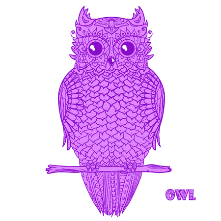 Owl. Zen art. Design Zentangle. Detailed hand drawn vintage owl with abstract patterns on isolation background. Design for spiritual relaxation for adults. Outline for tattoo, printing on t-shirts