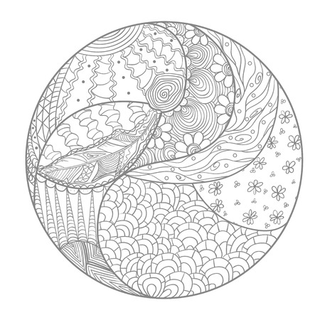 Mandala. Zentangle. Hand drawn circle zendala with abstract patterns on isolation background. Design for spiritual relaxation for adults. Line art creation. Printing on t-shirts, posters and other Illustration