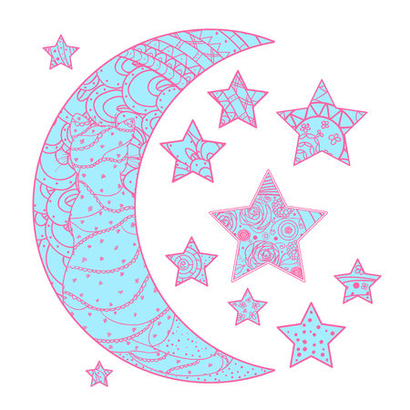 Half moon and stars with abstract patterns on isolation background. Design for spiritual relaxation for adults. Line art creation. Outline for tattoo, printing on t-shirts, posters Illustration