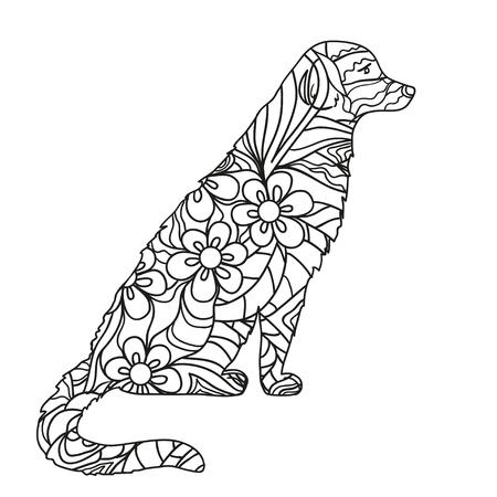 Perro. Perro Dibujado A Mano Con Patrones Abstractos Sobre Fondo De ...