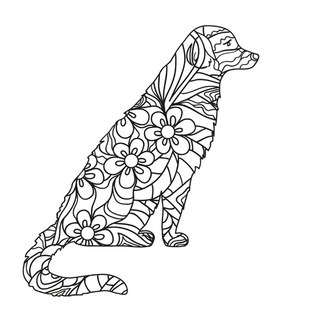 Dog. Hand drawn dog with abstract patterns on isolation background. Design for spiritual relaxation for adults. Black and white illustration for coloring. Design . Zen art