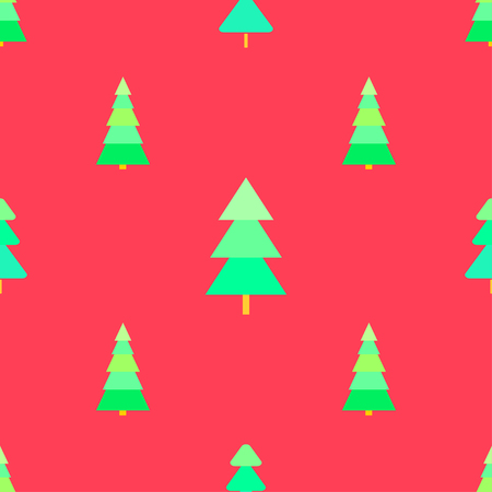 Modello senza cuciture con alberi di Natale. Sfondo. Trama luminosa Carta da parati geometrica astratta. Arte geometrica. Alberi di Natale verde. Stampa per tessuti, tessuti, poligrafia, poster. Biglietto d'auguri