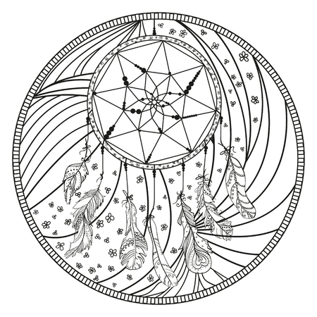 Dreamcatcher. Mystic symbol. Mandala. Line background. Hand drawn lines. Monochrome pattern. Doodle. Illustration for coloring. Design for spiritual relaxation for adults. Black and white wallpaper