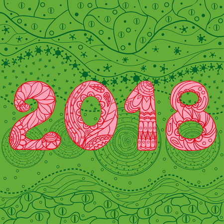 2018 New Year. Eastern pattern. Hand drawn texture with abstract patterns on isolation background. Design for spiritual relaxation for adults. Line art creation. Greeting cards for invitation. Zen art Illustration
