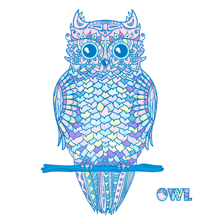 Owl. Design . Detailed hand drawn vintage owl with abstract patterns on isolation background. Design for spiritual relaxation for adults. Outline for tattoo, printing on t-shirts, posters