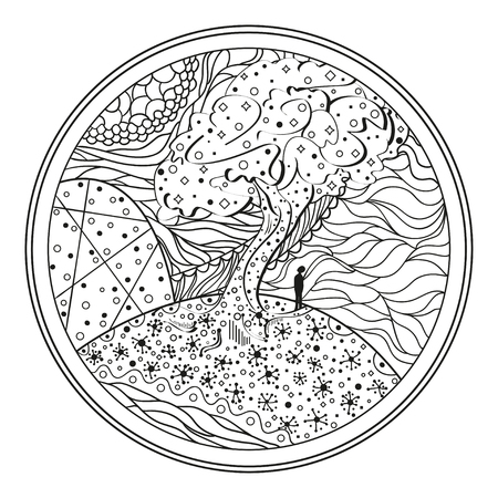 Mandala tree line background. Hand drawn lines. texture, abstract pattern. Doodle for design. Design for spiritual relaxation for adults.