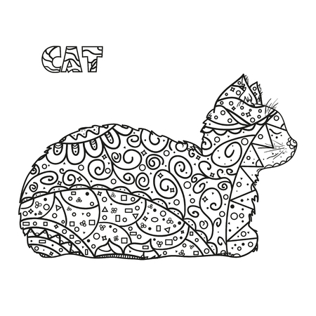 Cat. Hand drawn cat with abstract patterns on isolation background. Design for spiritual relaxation for adults.