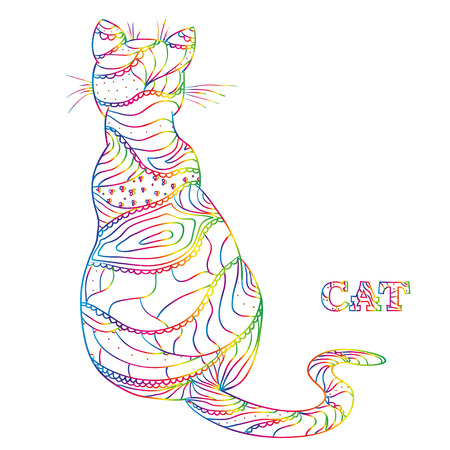 Cat. Design. Hand drawn cat with abstract patterns on isolation background. Design for spiritual relaxation for adults. Decorative style. Line art creation. Print for polygraphy, t-shirts Фото со стока