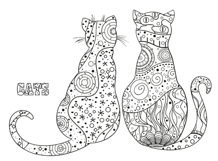 Zen cats. Hand drawn cat with abstract patterns on isolation background. Design for spiritual relaxation for adults. Outline for tattoo, printing on t-shirts, posters and other items
