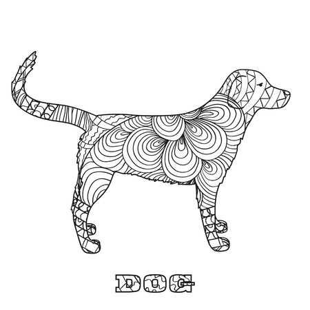 Dog. Boho style. Hand drawn dog with abstract patterns on isolation background. Design for spiritual relaxation for adults. Black and white illustration for coloring. Zen art Stock Photo