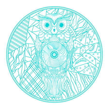 Mandala with owl. Hand drawn abstract patterns on isolation background. Design for spiritual relaxation for adults. Zendala. Outline for tattoo, printing on t-shirts, posters and other Imagens
