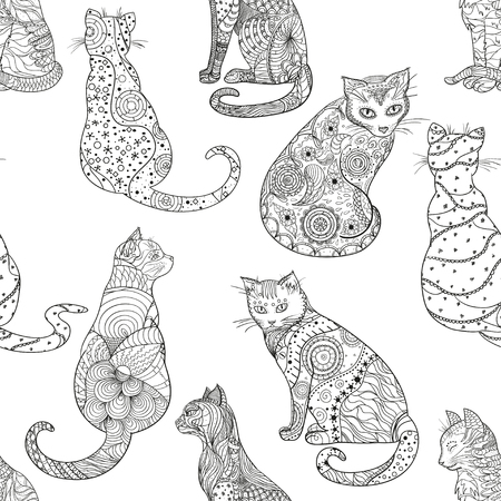 Cats. Seamless pattern. Hand drawn cat with abstract patterns on isolation background. Design for spiritual relaxation for adults. Zen art. Decorative style. Print for polygraphy Illustration
