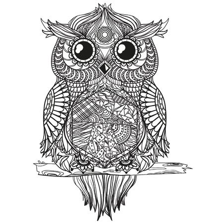 Owl. Zen art. Design Zentangle.