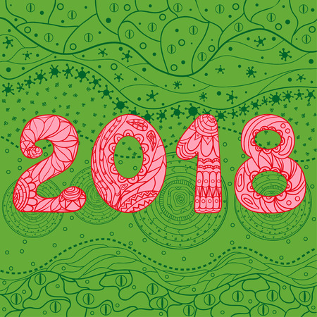 2018 New Year. Eastern pattern. Hand drawn texture with abstract patterns on isolation background. Design for spiritual relaxation for adults. Line art creation. Greeting cards for invitation. Zen art Stock Photo