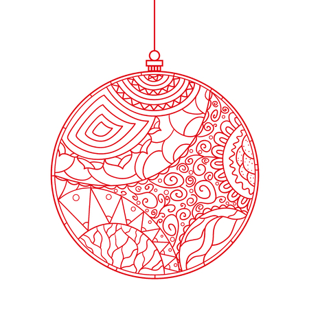 Christmas tree toy. Happy New Year. Zentangle. Hand drawn element with abstract patterns on isolation background. Design for spiritual relaxation for adults. Line art creation. Greeting cards