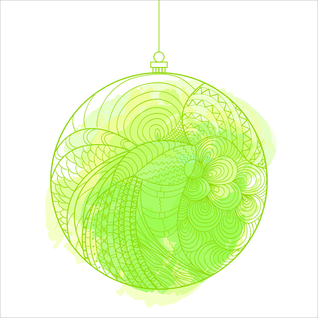 Christmas tree toy. Watercolor stain. Happy New Year. Zentangle. Hand drawn element with abstract patterns on isolation background. Design for spiritual relaxation for adults. Line art creation Иллюстрация