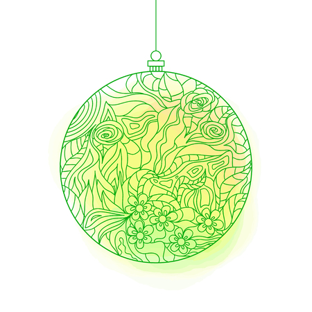 Christmas tree toy. Watercolor stain. Happy New Year. Zentangle. Hand drawn element with abstract patterns on isolation background. Design for spiritual relaxation for adults. Line art creation Illustration