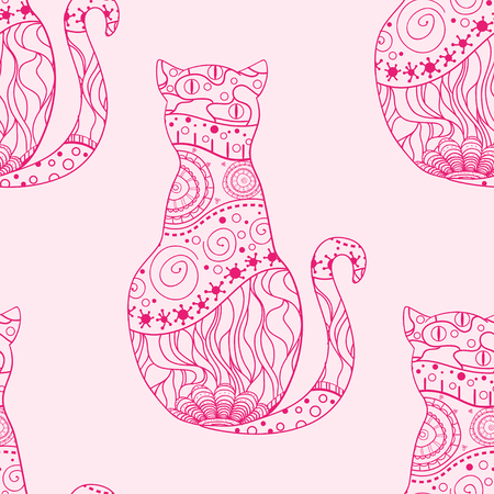Cat. Seamless pattern. Zentangle. Hand drawn cat with abstract patterns on isolation background. Design for spiritual relaxation for adults. Art creative. Outline for tattoo, printing on t-shirts Иллюстрация