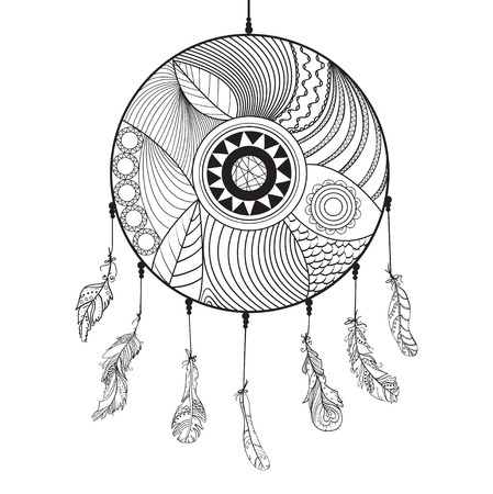 Dreamcatcher. Feathers. Tattoo art, mystic symbol. Abstract feathers. Print for polygraphy and textiles. American Indians symbol. Design for spiritual relaxation for adults. Zen art. Decorative style