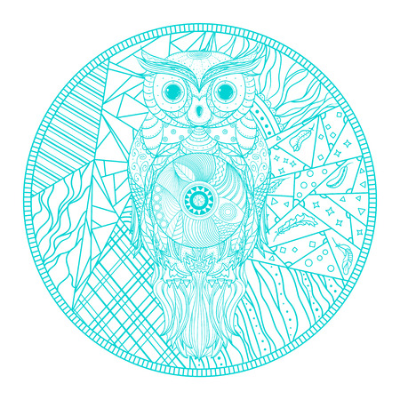 Mandala with owl. Zentangle. Hand drawn abstract patterns on isolation background. Design for spiritual relaxation for adults. Zendala. Outline for tattoo, printing on t-shirts, posters and other