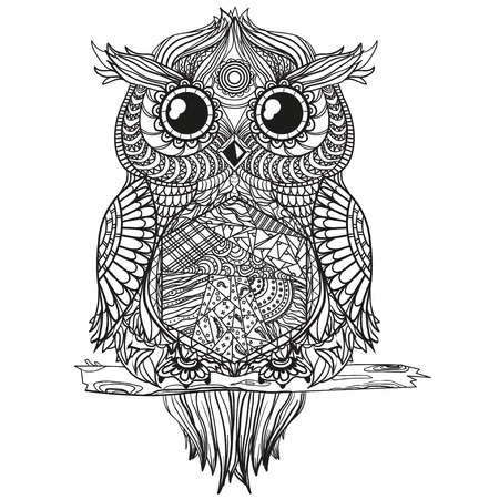 Owl. Zen art. Design Zentangle. Detailed hand drawn vintage owl with abstract patterns on isolation background. Design for spiritual relaxation for adults. Black and white illustration for coloring.  Illustration