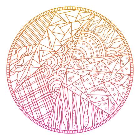 Patchwork pattern. Abstract eastern pattern. Hand drawn texture with circle patterns on isolation background. Design for spiritual relaxation for adults. Line art creation. Print for polygraphy Illustration