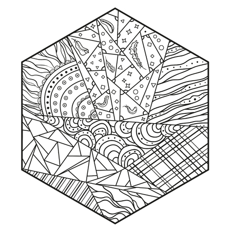Polygon. Zentangle. Hand drawn mandala with abstract patterns on isolation background. Design for spiritual relaxation for adults. Line art creation. Black and white illustration for coloring. Zen art