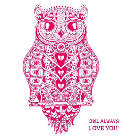 Owl. Design Zentangle. Detailed hand drawn vintage owl with abstract patterns on isolation background. Design for spiritual relaxation for adults. Outline for tattoo, printing on t-shirts, posters Illustration