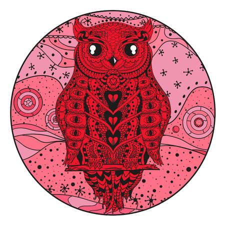 Mandala with owl. Design Zentangle. Hand drawn abstract patterns on isolation background. Design for spiritual relaxation for adults. Print for polygraphy, posters, t-shirts and textiles