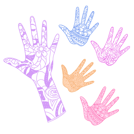Hand. Arm. Hand drawn abstract patterns on isolation background. Design for spiritual relaxation for adults. Line art creation. Print for polygraphy, posters and textiles. Outline for t-shirts Illustration