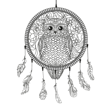Dream catcher with owl, tattoo art, mystic symbol. Print for polygraph and textiles. American Indians symbol. Design for spiritual relaxation for adults.